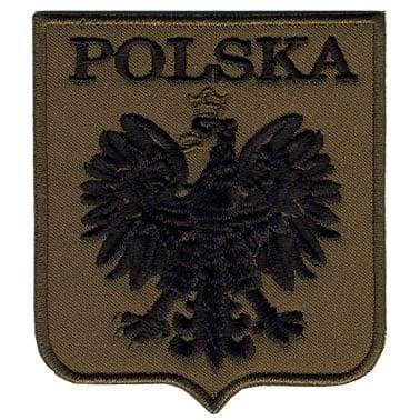 Naszywka Godło Polski gaszone. Oliwkowe tło i czarny haft
